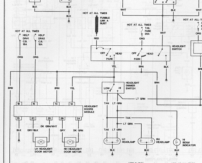 fbhlh 87 92 firebird headlight wiring diagram third generation f body 92 Toyota Pickup 2WD at crackthecode.co